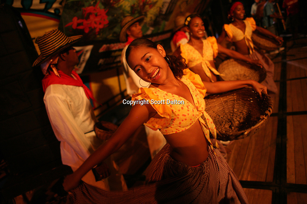 A dance troupe performs as part of a celebration for the 80th birthday of Gabriel Garcia Marquez in Aracataca on Monday, March 5, 2007. Aracataca is the hometown of Garcia Marquez, whose most famous work is One Hundred Years of Solitude. (Photo/Scott Dalton)