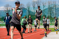 Peter Prevc, Timi Zajc and Anze Semenic of national ski jumping team during training of Slovenian Ski Jumping team, on April 25th, 2019 in Sports Park Kranj, Kranj, Slovenia. Photo by Grega Valancic / Sportida