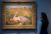 Sir George Clausen, Evening Song, estimate: £1,200,000-1,800,000 - Christie's preview exhibition of works from its upcoming British Impressionism Sale, on view to the public from 18-22 November 2017. The auction will take place on 22 November 2017 at Christie's King Street.