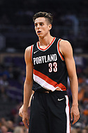 Oct 11, 2017; Phoenix, AZ, USA; Portland Trail Blazers center Zach Collins (33) reacts in the game against the Phoenix Suns at Talking Stick Resort Arena. Mandatory Credit: Jennifer Stewart-USA TODAY Sports