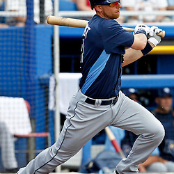 March 16, 2012; Dunedin, FL, USA; Tampa Bay Rays second baseman Ben Zobrist (18) hits a pop up out during the top of the second inning of a spring training game against the Toronto Blue Jays at Florida Auto Exchange Stadium. Mandatory Credit: Derick E. Hingle-US PRESSWIRE