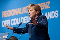 15 OCT 2010, BERLIN/GERMANY:<br /> Angela Merkel, CDU Bundesvorsitzende, beantwortet die Fragen der Teilnehmer, Regionalkonferenz der CDU fuer die Landesverbaende Berlin und Brandenburg, Palais am Funkturm<br /> IMAGE: 20101015-01-072<br /> KEYWORDS: Rede