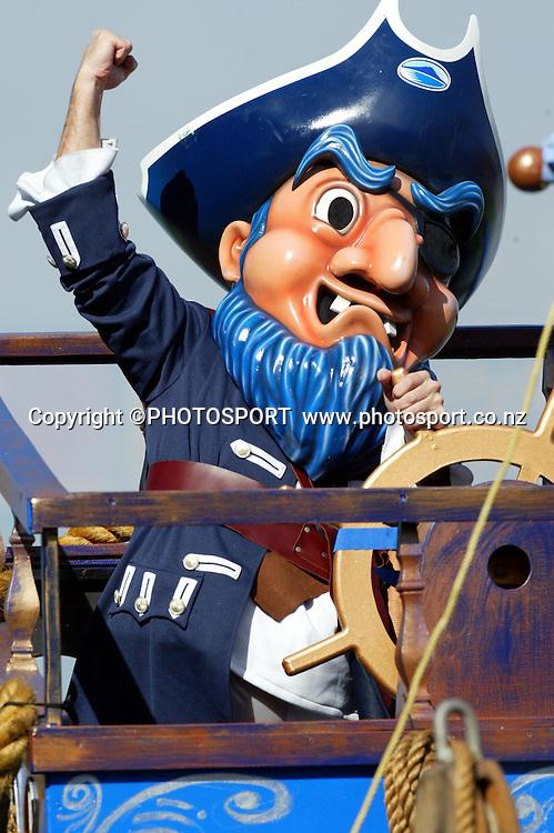 4 April, 2004, Eden Park, Auckland, New Zealand, Super 12 Rugby Union, Auckland Blues v NSW Warratahs.<br />Blues mascot.<br />The Blues defeated the Warraths 22-17<br />Please credit: Andrew Cornaga/Photosport