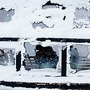 The snow encased windows of Corbet's Cabin.