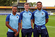 AFC Wimbledon defender Kyron Stabana (33), AFC Wimbledon attacker Jack Rudoni (42) and AFC Wimbledon Reuben Collins (36) prior to kick off during the Pre-Season Friendly match between AFC Wimbledon and Bristol City at the Cherry Red Records Stadium, Kingston, England on 9 July 2019.