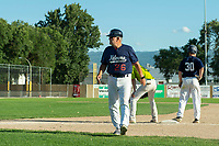 KELOWNA, BC - JULY 28:  The Kelowna Falcons play a non-league game against the Northwest Honkers at Elks Stadium on July 28, 2019 in Kelowna, Canada. (Photo by Marissa Baecker/Shoot the Breeze)