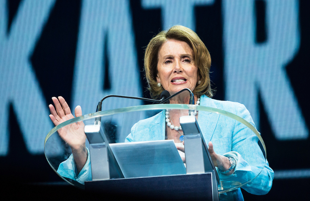 "August 29, 2015, New Orleans, LA,California U.S. Representative Nancy Pelosi addresses a crowd at the Smoothy King Center during the 'Power of Community"" Katirna 10 event marking the 10-year anniversary of Hurricane Katrina.  This event rapped up events that were part of ""Katrina 10, Resilient New Orleans"" sponsored by the Rockefeller Foundation."