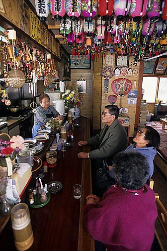 Japan, Okame noodle restaurant near Lake Kussharo.