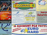 Italian language local business advertisement signs, Castellammare del Golfo, Sicily, Italy