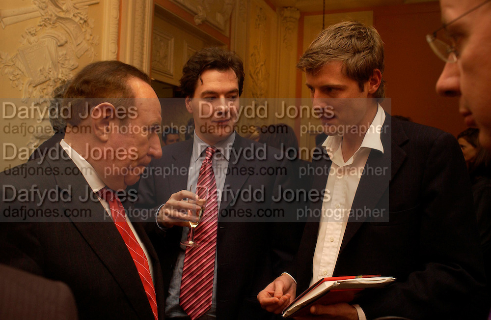 Andrew Neil, George Osborne and Zac Goldsmith. andrew Roberts and Leonie Frieda celebrate the publication of Andrew's 'Waterloo: Napoleon's Last Gamble' and the paperback of Leonie's 'Catherine de Medic'i. English-Speaking Union, Dartmouth House. London. 8 February 2005. ONE TIME USE ONLY - DO NOT ARCHIVE  © Copyright Photograph by Dafydd Jones 66 Stockwell Park Rd. London SW9 0DA Tel 020 7733 0108 www.dafjones.com