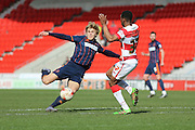 Blackpool midfielder Brad Potts (8) with a shot during the Sky Bet League 1 match between Doncaster Rovers and Blackpool at the Keepmoat Stadium, Doncaster, England on 28 March 2016. Photo by Simon Davies.