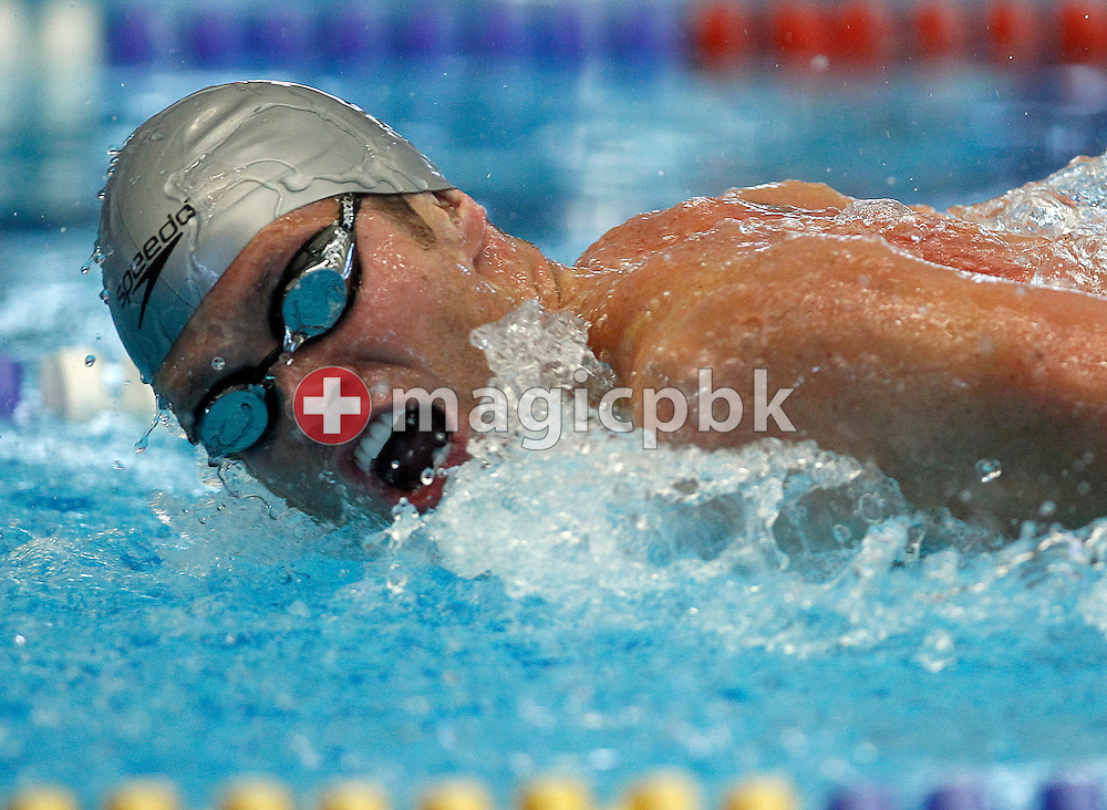SCUW's winner Dominik MEICHTRY of Switzerland competes in the men's 100m Butterfly final at the Swiss Swimming Championships in Geneva, Switzerland, Sunday, March 14, 2010. (Photo by Patrick B. Kraemer / MAGICPBK)