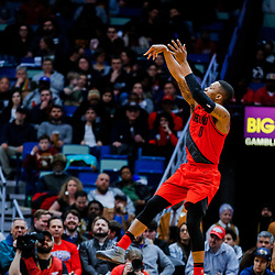 Jan 12, 2018; New Orleans, LA, USA; Portland Trail Blazers guard Damian Lillard (0) shoots against the New Orleans Pelicans during the first quarter at the Smoothie King Center. Mandatory Credit: Derick E. Hingle-USA TODAY Sports