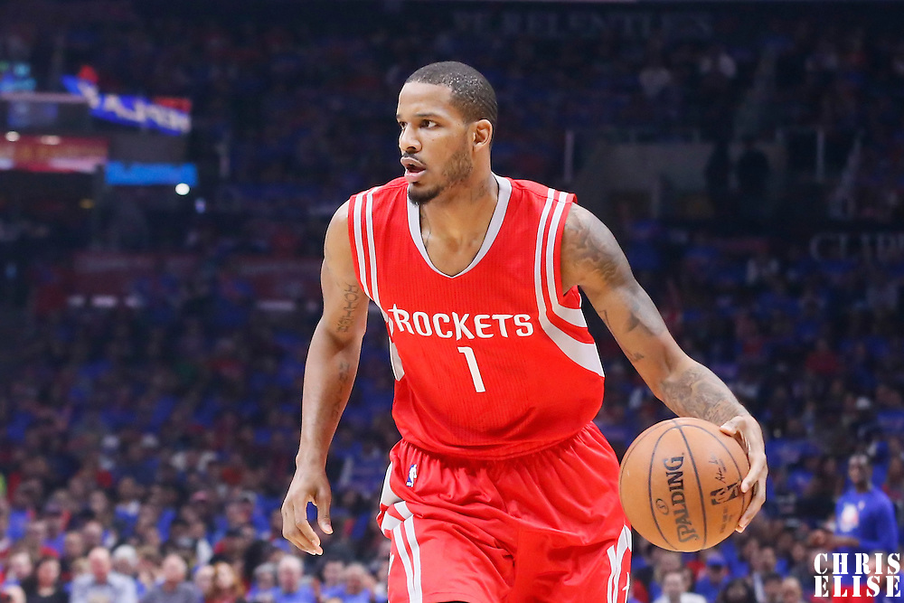 14 May 2015: Houston Rockets forward Trevor Ariza (1) brings the ball up court during the Houston Rockets 119-107 victory over the Los Angeles Clippers, in game 6 of the Western Conference semifinals, at the Staples Center, Los Angeles, California, USA.