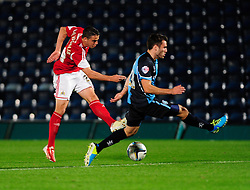 Bristol City's Stephen McLaughlin takes a shot at goal. - Photo mandatory by-line: Joe Dent/JMP - Tel: Mobile: 07966 386802 08/10/2013 - SPORT - FOOTBALL - London Road Stadium - Peterborough - Peterborough United V Brentford - Johnstone Paint Trophy