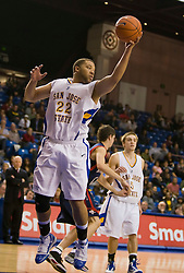 November 30, 2009; San Jose, CA, USA;  San Jose State Spartans forward C.J. Webster (22) grabs a rebound against the Saint Mary's Gaels during the second half at the Event Center Arena.  Saint Mary's defeated San Jose State 78-71.