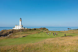 Turnberry Lighthouse on new 9th hole  at Trump Turnberry Golf Course in Ayrshire, Scotland , UK