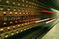 A subway train arrives in Prague, Czech Republic. ©2004 Brett Wilhelm/Brett Wilhelm Photography | www.brettwilhelm.com