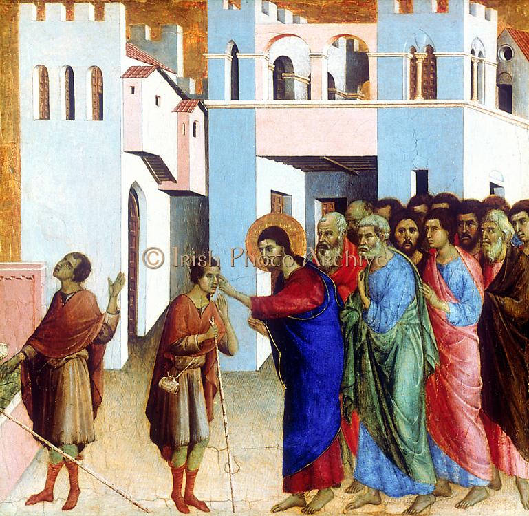 Christ Healing the Blind Man'.  Duccio di Buoninsegna (1278-1318) Italian painter. Sienese school. Byzantine tradition.