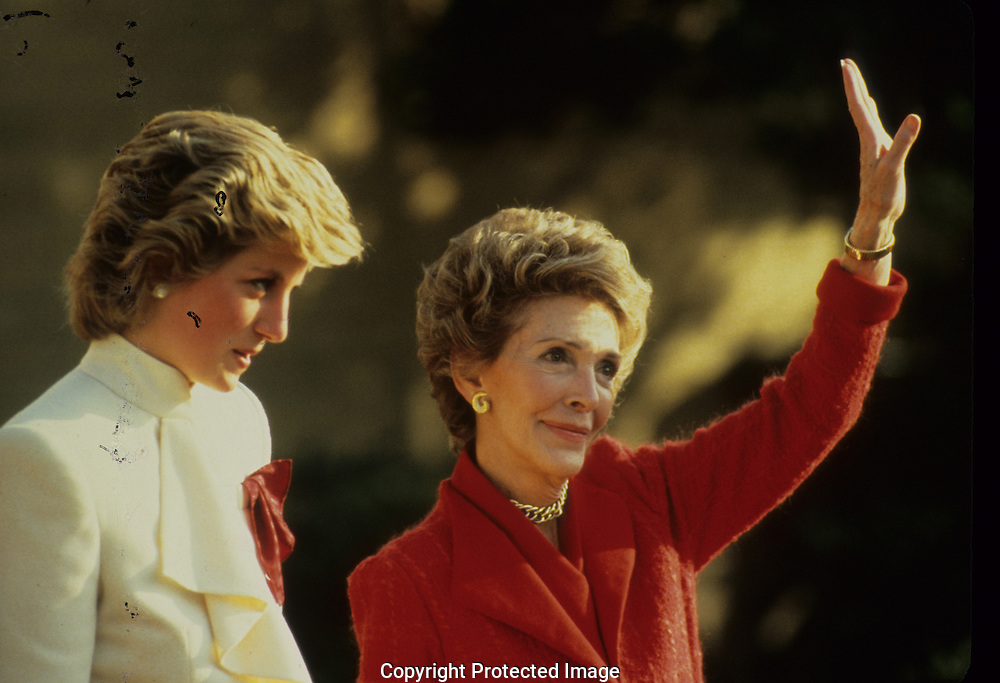 Lady Diana and First Lady Nancy Reagan  in November 1985..Photograph by Dennis Brack bb 27