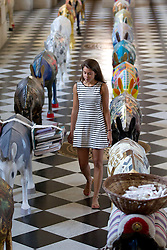 © Licensed to London News Pictures. 30/08/2013. London, UK. A visitor to St Paul's Cathedral walks amongst 25 life-size painted donkeys created by Egyptian artists in London today (30/08/2013).  The donkeys, created to reflect the common identity of Egyptians, regardless of religion, since the 2011 revolution, are on show to visitors to the cahedral. Photo credit: Matt Cetti-Roberts/LNP