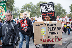 © Licensed to London News Pictures. 17/09/2016. London, UK. Thousands march through central London to call on the government to welcome refugees to the UK. Photo credit: Rob Pinney/LNP