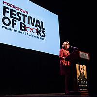Linda Hellstrom, founder, makes opening remarks at 2017 Morristown Festival of Books, Morristown, NJ, 10/13/17.