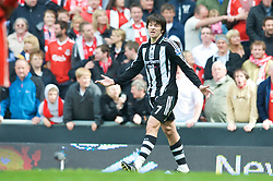 LIVERPOOL, ENGLAND - Sunday, May 3, 2009: Newcastle United's Joey Barton pleads his innocence, to no avail as he is sent off during the Premiership match against Liverpool at Anfield. (Photo by David Rawcliffe/Propaganda)