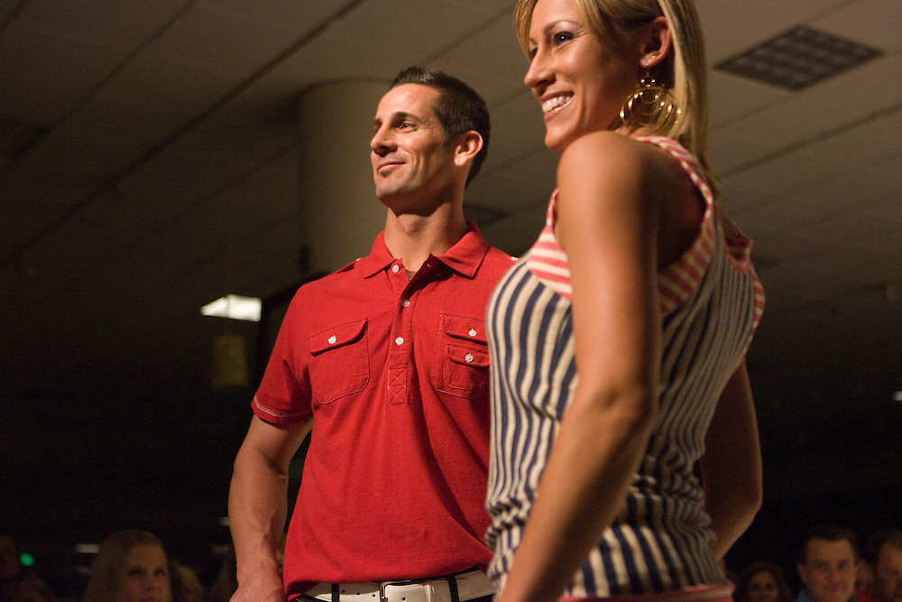Caption:(Sunday 06/14/2009 Tampa) Tampa Bay Rays pitcher Grant Balfour and Angela Kist pose at the end of the runway during the fourth annual Rays on the Runway fundraiser for the Children's Dream Fund and the Rays Baseball Foundation, held at the Nordstrom at International Plaza in Tampa...Summary: 4th annual RAYS on the Runway.Photo by James Branaman