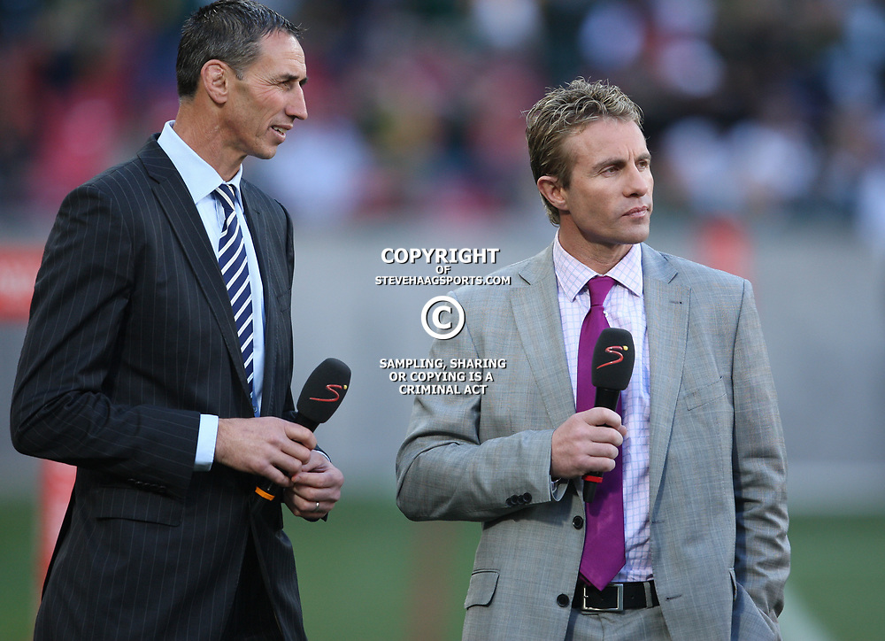 PORT ELIZABETH, SOUTH AFRICA - AUGUST 20, Ian Jones NZ rugby commentator with Justin Marshall NZ rugby commentator during the Castle Lager Tri Nations match between South Africa and New Zealand from Nelson Mandela Bay Stadium on August 20, 2011 in Port Elizabeth, South Africa<br /> Photo by Steve Haag / Gallo Images