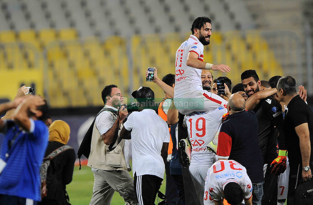 August 8, 2016 - Alexandria, Cairo, Egypt - Zamalek players celebrate with the trophy after winning their Egyptian Cup finals derby soccer match against Al Ahly in Borg El-Arab Stadium near Alexandria, Egypt, Aug 8,2016  (Credit Image: © Stringer/APA Images via ZUMA Wire)