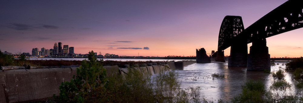 Panoramic of Downtown Louisville Skyline and the Falls of the Ohio, Clarksville, Indiana
