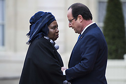 PARIS, Dec. 6, 2013  France's President Francois Hollande (R) welcomes African Union (AU) chairperson Nkosazana Dlamini-Zuma during the opening ceremony of a summit on peace and security in Africa, in Paris, France, Dec. 6, 2013. French President Francois Hollande on Friday mourned the passing of Nelson Mandela and paid tribute to the anti-apartheid hero who will continue inspiring fights for freedom and peace. (Xinhua/Etienne Laurent) (Credit Image: © Etienne Laurent/Xinhua/ZUMAPRESS.com)