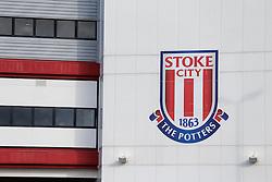 A General View of the Stoke crest on the Britannia Stadium before the match - Photo mandatory by-line: Rogan Thomson/JMP - 07966 386802 - 19/10/2014 - SPORT - FOOTBALL - Stoke-on-Trent, England - Britannia Stadium - Stoke City v Swansea City - Barclays Premier League.