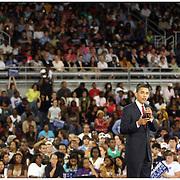 Presedential candidate Barack Obama speaks Thursday at Minges Coliseum in Greenville. (Jason A. Frizzelle)