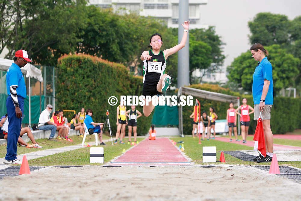Bishan Stadium, Tuesday, April 12, 2016 — Daphne Kwok of Victoria Junior College (VJC) claimed the A Division Girls' long jump gold with a distance of 4.97 metres at the 57th National Schools Track and Field Championships. She pipped Natasha Audrey Weers of Hwa Chong Institution (HCI) to the gold by a mere centimetre.