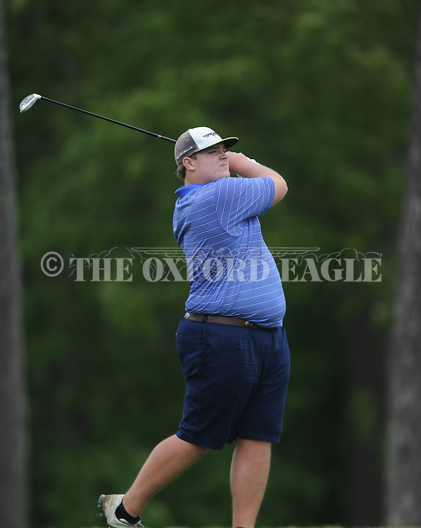Oxford High's Ben Hubbard tees off on the 18th hole during the closing round of the MHSAA Class 5A state championship golf tournament at the Ole Miss Golf Course in Oxford, Miss. on Thursday, May 2, 2013. Oxford High won to win the state championship.