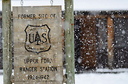 Entrance sign for the Historic Upper Ford Ranger Station during a snowstorm after the cutting of the 2017 Capitol Christmas tree that was located on the ranger site. Kootenai Natioal Forest in the Yaak Valley, northwest Montana.
