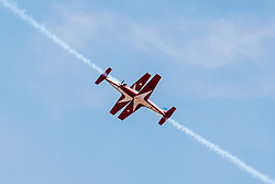 March 27, 2019 - Langkawi, Malaysia - Jupiter Aerobatic Team of Indonesia perform during the 15th Langkawi International Maritime and Aerospace Exhibition (LIMA) in Langkawi. The 15th Langkawi International Maritime and Aerospace Exhibition (LIMA) kicked off on Tuesday, with defense companies from around the globe vying for a bigger share in the Asian defense industry. 390 companies from the defense and commercial industry from 31 countries and regions are participating in the five-day event. (Credit Image: © Xinhua via ZUMA Wire)