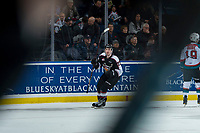 KELOWNA, CANADA - MARCH 7:  Austin King-Cunningham #22 of the Vancouver Giants celebrates the overtime winning goal against the Kelowna Rockets on March 7, 2018 at Prospera Place in Kelowna, British Columbia, Canada.  (Photo by Marissa Baecker/Shoot the Breeze)  *** Local Caption ***