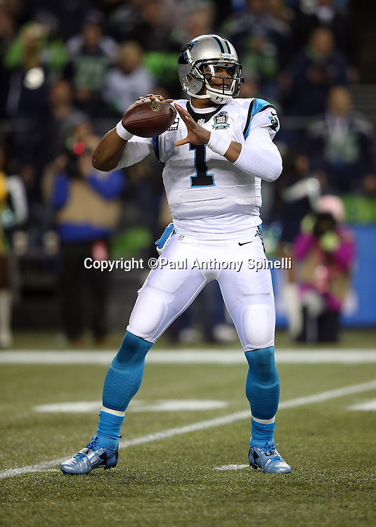 Carolina Panthers quarterback Cam Newton (1) throws a second quarter pass during the NFL week 19 NFC Divisional Playoff football game against the Seattle Seahawks on Saturday, Jan. 10, 2015 in Seattle. The Seahawks won the game 31-17. ©Paul Anthony Spinelli