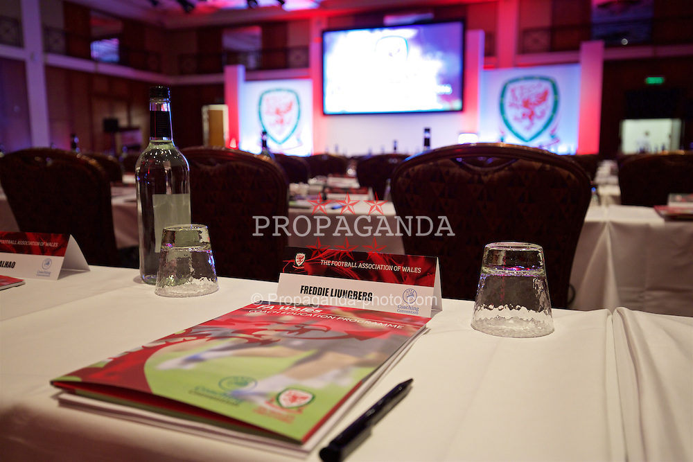 NEWPORT, WALES - Friday, May 20, 2016: Freddie Ljungberg's place in the conference room before the Football Association of Wales' National Coaches Conference 2016 at the Celtic Manor Resort. (Pic by David Rawcliffe/Propaganda)