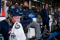 KELOWNA, CANADA - FEBRUARY 23: Noah Philp #16 of the Seattle Thunderbirds tends to a cut lip on the bench against the Kelowna Rockets  on February 23, 2018 at Prospera Place in Kelowna, British Columbia, Canada.  (Photo by Marissa Baecker/Shoot the Breeze)  *** Local Caption ***