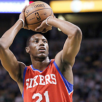 14 May 2012: Philadelphia Sixers forward Thaddeus Young (21) is seen at the free throw line during the Philadelphia Sixers 82-81 victory over the Boston Celtics, in Game 2 of the Eastern Conference semifinals playoff series, at the TD Banknorth Garden, Boston, Massachusetts, USA.