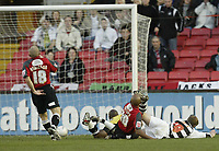 Photo: Aidan Ellis.<br /> Darlington v Swansea City. The FA Cup. 02/12/2006.<br /> Darlington's Martin Smith scores the first goal