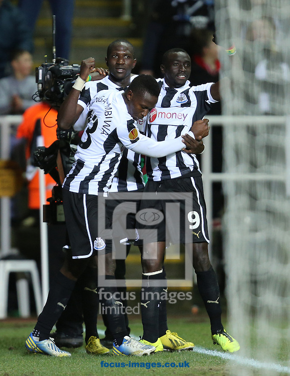 Picture by Paul Gaythorpe/Focus Images Ltd +447771 871632.14/02/2013.Newcastle United celebrations are cut short as Papiss Cisse strike is ruled offside during the UEFA Europa League match at St. James's Park, Newcastle.