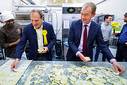 © Licensed to London News Pictures. 30/05/2017. London, UK. Leader of Liberal Democrats TIM FARRON visits Comptoir Gourmand Bakery shop in Bermondsey, London with former Bermondsey and Old Southwark MP SIR SIMON HUGHES on Tuesday, 30 May 2017. Photo credit: Tolga Akmen/LNP