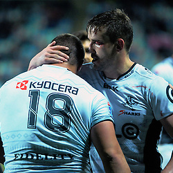 Sharks captain Keegan Daniel commiserates with Coenie Oosthuizen during the Super Rugby match between the Chiefs and Lions at Yarrow Stadium, New Plymouth, New Zealand on Saturday, 5 March 2016. Photo: Dave Lintott / lintottphoto.co.nz