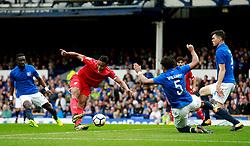 Luis Muriel of Sevilla fires a shot at goal  - Mandatory by-line: Matt McNulty/JMP - 06/08/2017 - FOOTBALL - Goodison Park - Liverpool, England - Everton v Sevilla - Pre-season friendly