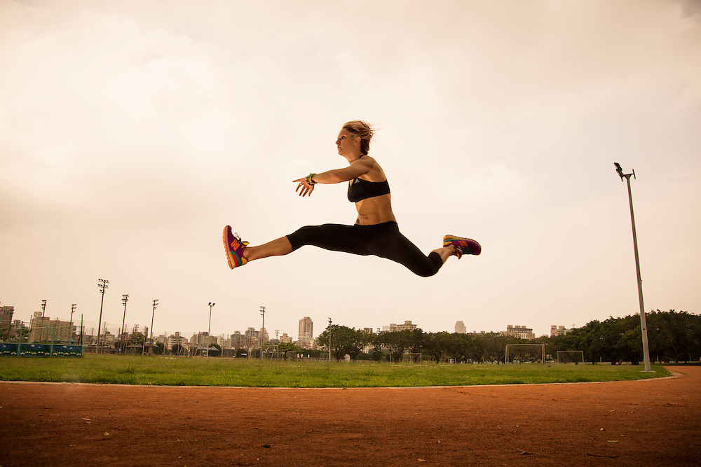 Action photograph of a female athlete.